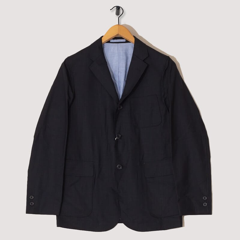 3B Wool Check Blazer - Navy