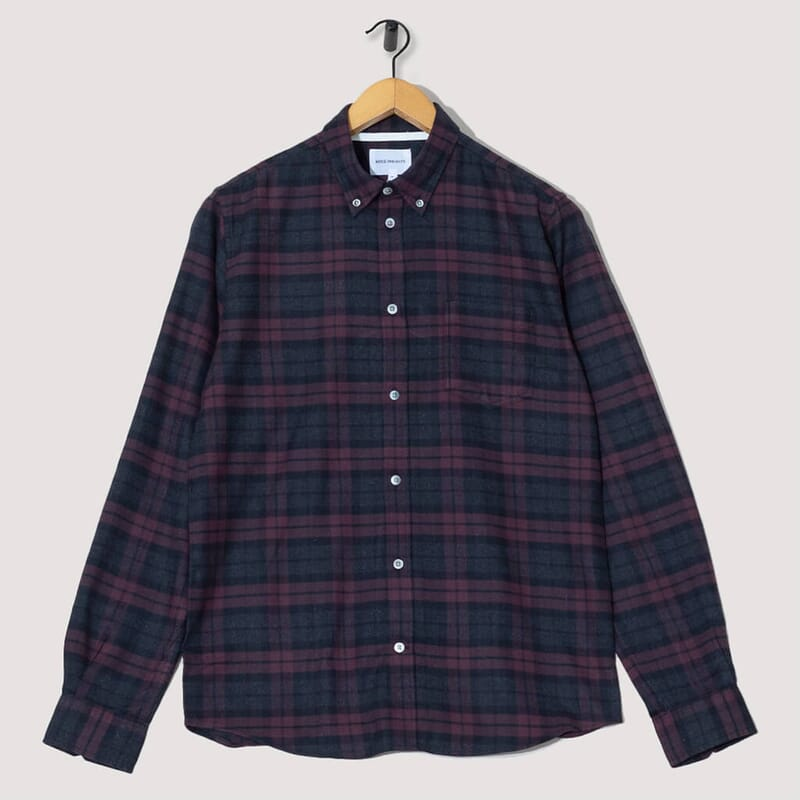 Anton Brushed Flannel Check - Eggplant Brown Check