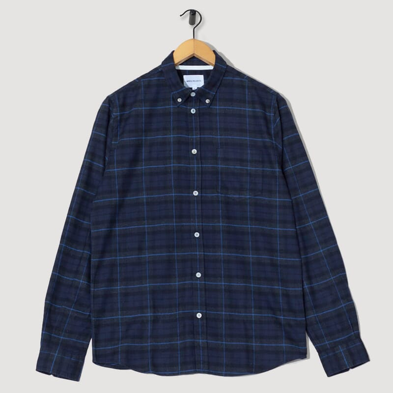Anton Brushed Flannel Check - Navy Check