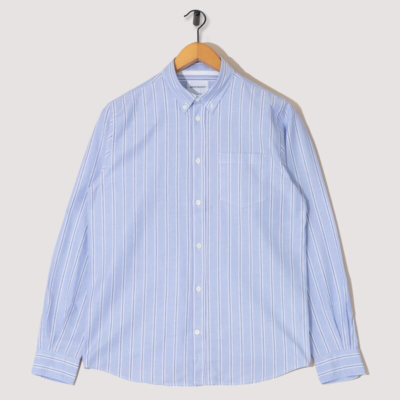 Anton Oxford Shirt - Pale Blue / Multi Stripe