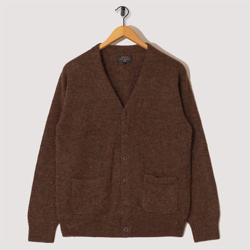 Baby Alpaca Wool 7G Cardigan - Brown