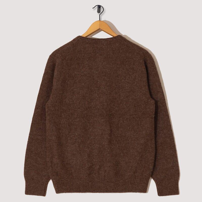 <Baby Alpaca Wool 7G Cardigan - Brown