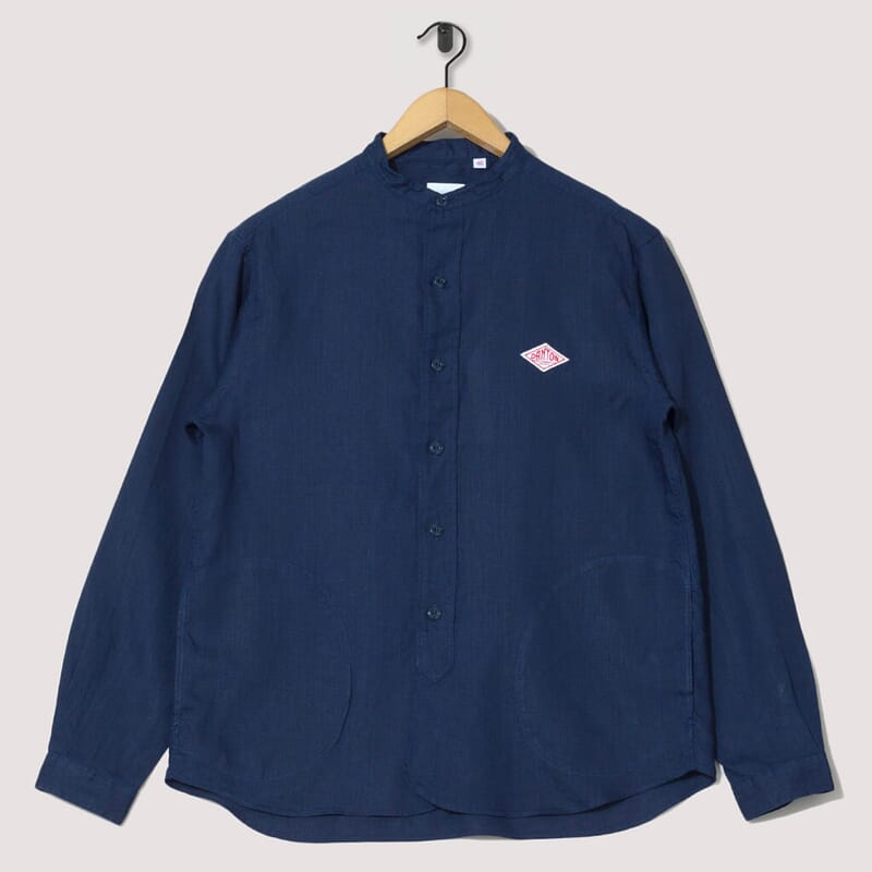 Band Collar Shirt Linen - Navy