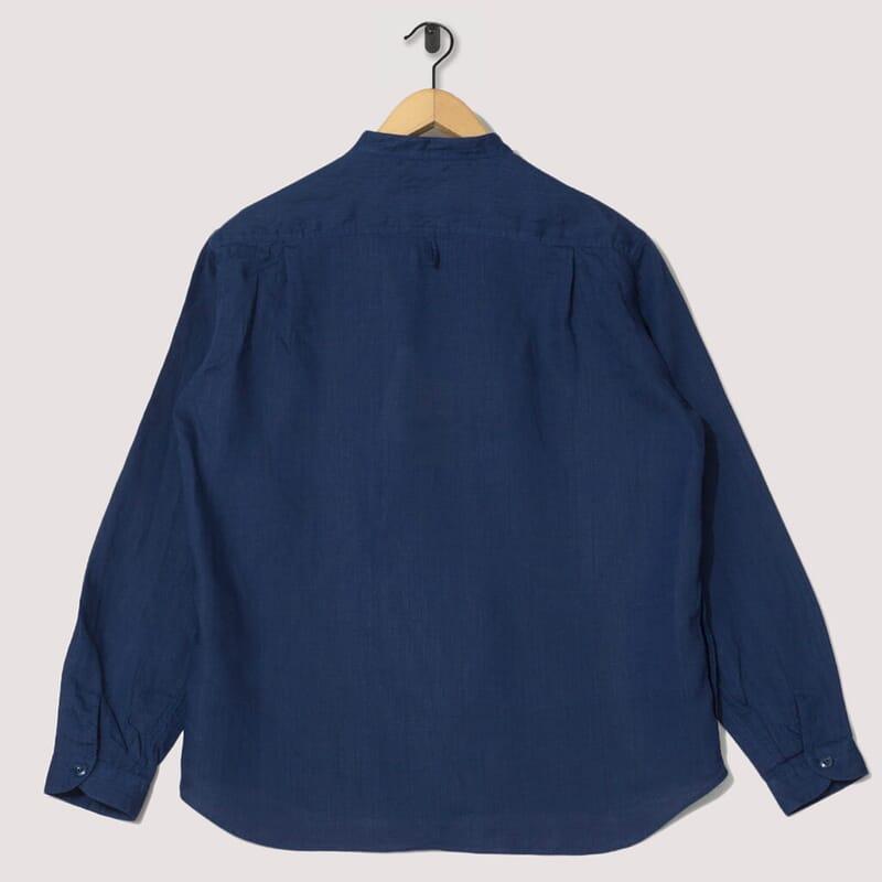 <Band Collar Shirt Linen - Navy