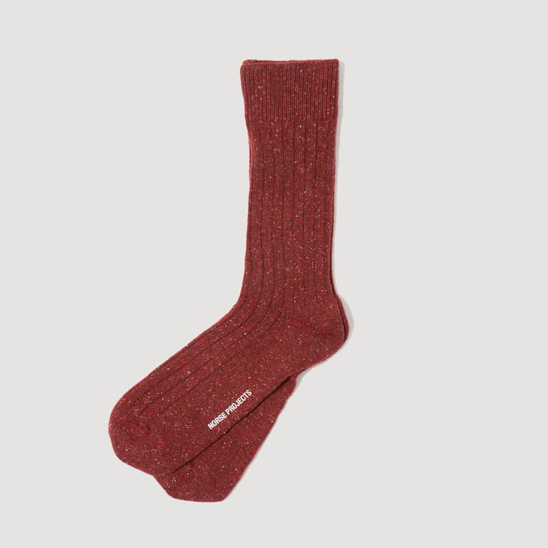 <Bjarki Neps Socks - Carmine Red