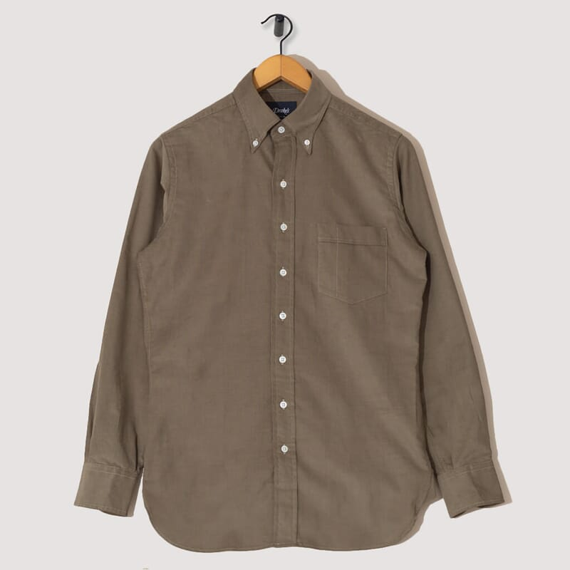 Button Down Needlecord Shirt - Khaki