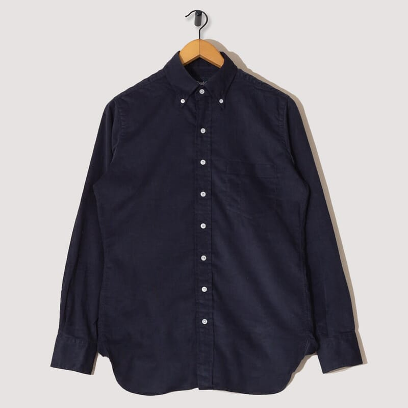 Button Down Needlecord Shirt - Navy