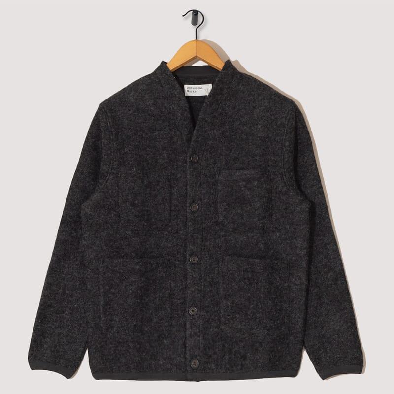Wool Fleece Cardigan - Charcoal