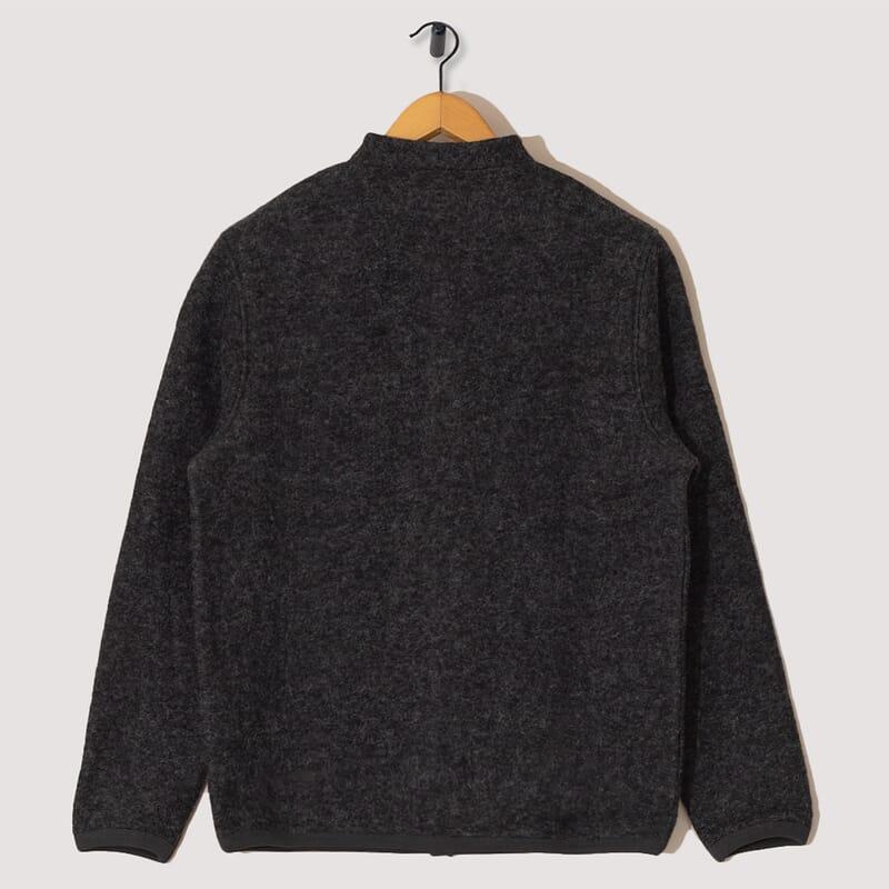 <Wool Fleece Cardigan - Charcoal
