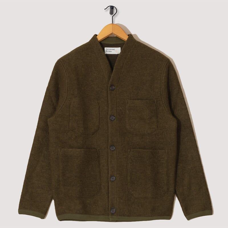 Wool Fleece Cardigan - Olive