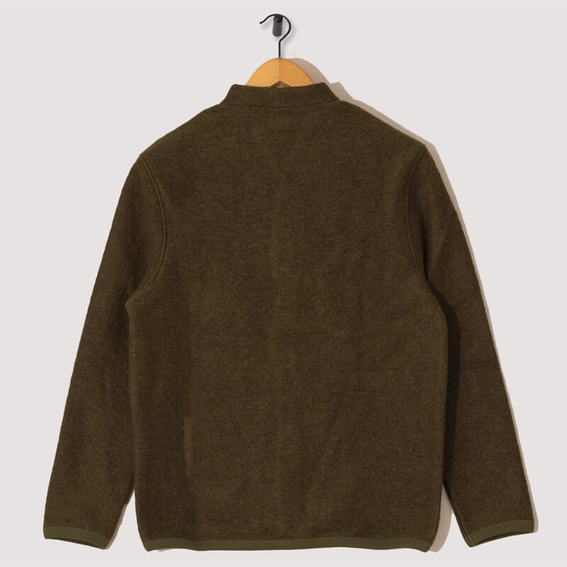 <Wool Fleece Cardigan - Olive