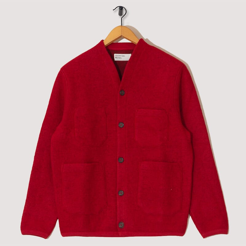 Wool Fleece Cardigan - Red