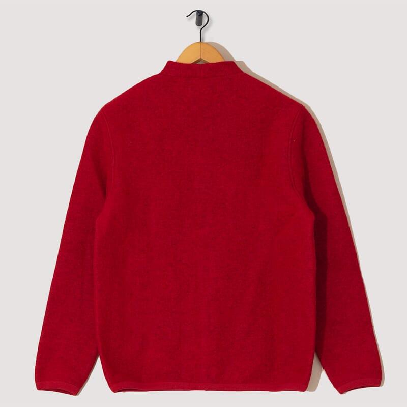 <Wool Fleece Cardigan - Red