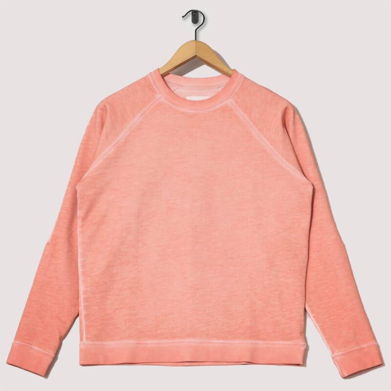 Cold Dye Rivet Sweat - Coral Orange