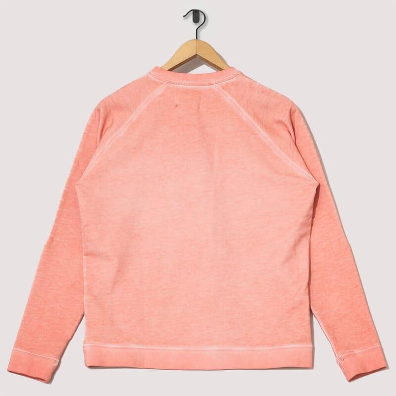 <Cold Dye Rivet Sweat - Coral Orange