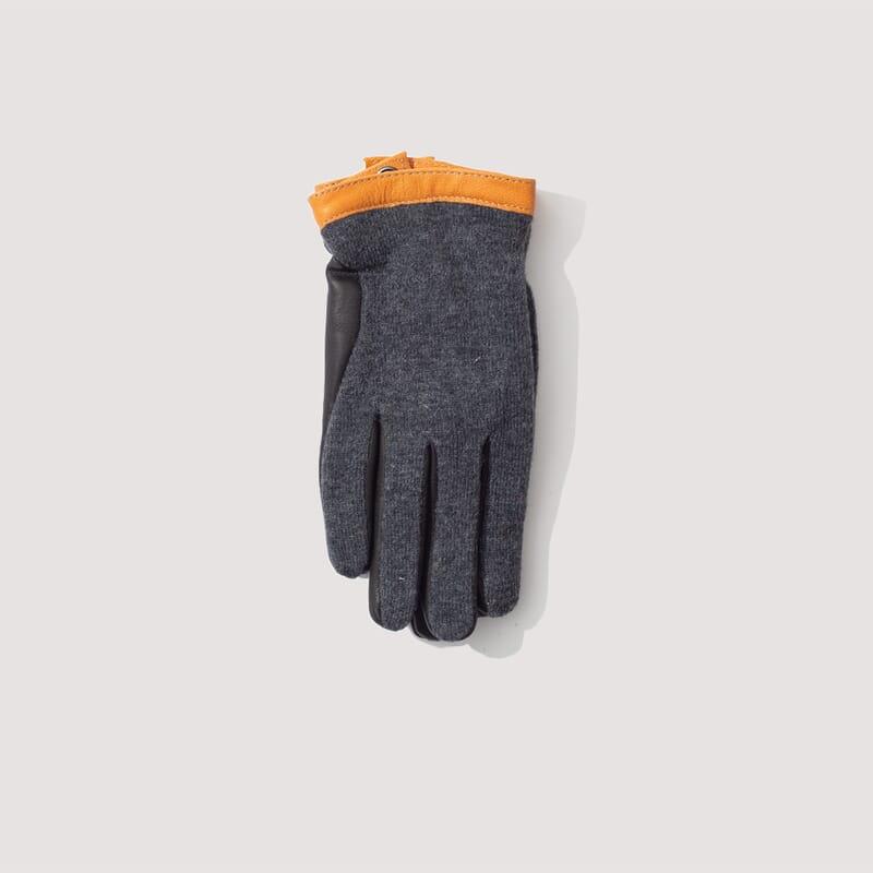 Deerskin Wool Tricot Glove - Charcoal / Black