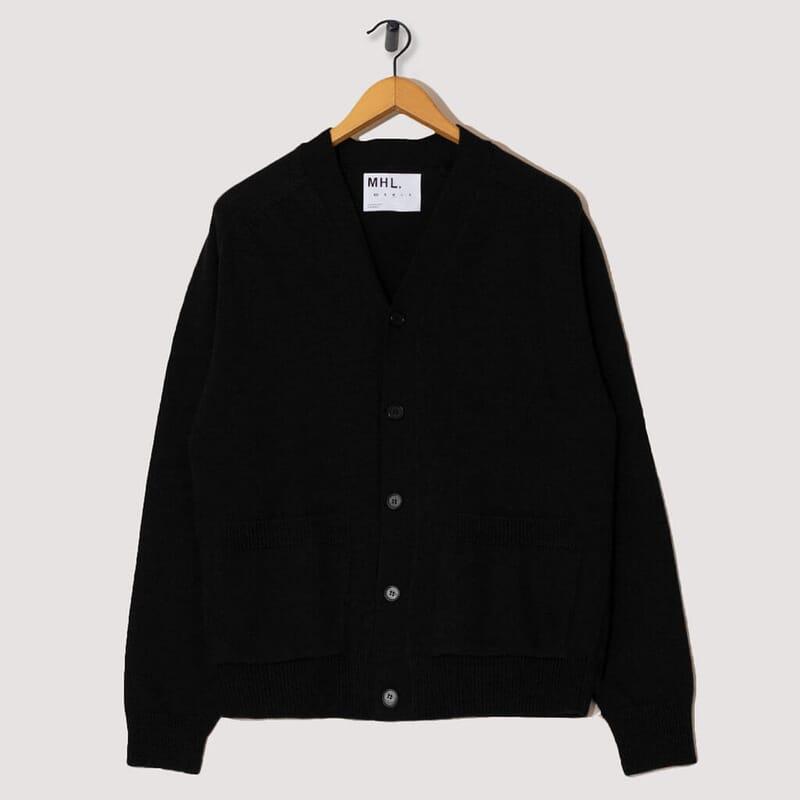 Dry Wool Big Pocket Cardigan - Black