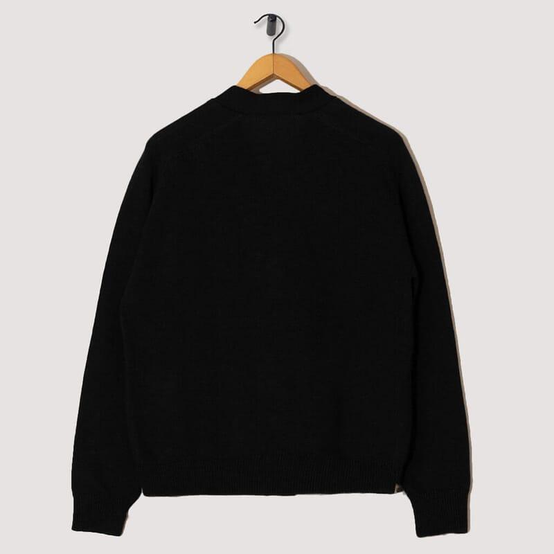 <Dry Wool Big Pocket Cardigan - Black