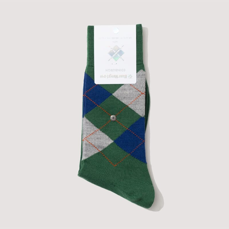 Edinburgh Socks - Green/Light Grey/Blue (820)