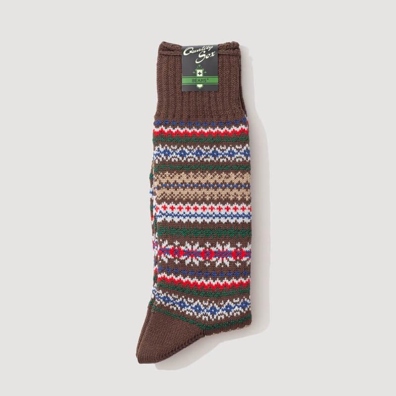 Fairisle Socks - Brown Base