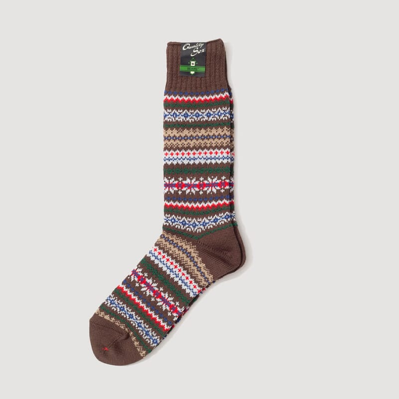 <Fairisle Socks - Brown Base
