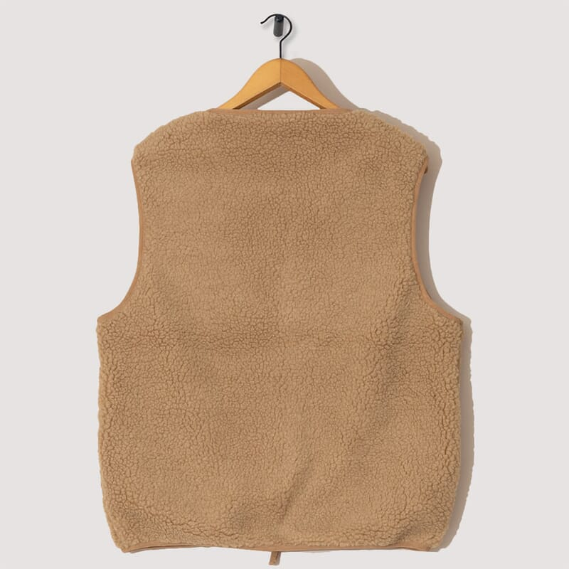 <Fleece Liner Vest - Khaki Boa Fleece