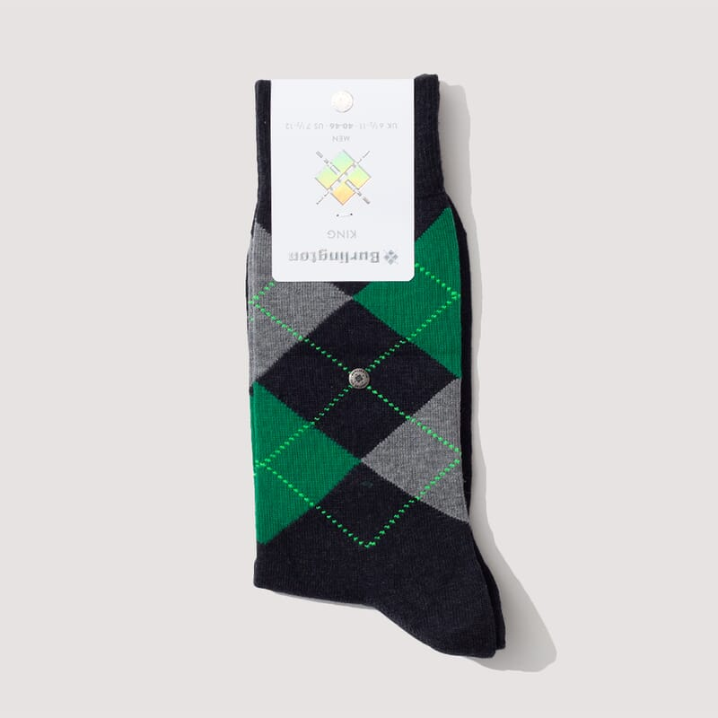 Kings Socks - Dark Charcoal/Kelly Green/Grey (801)