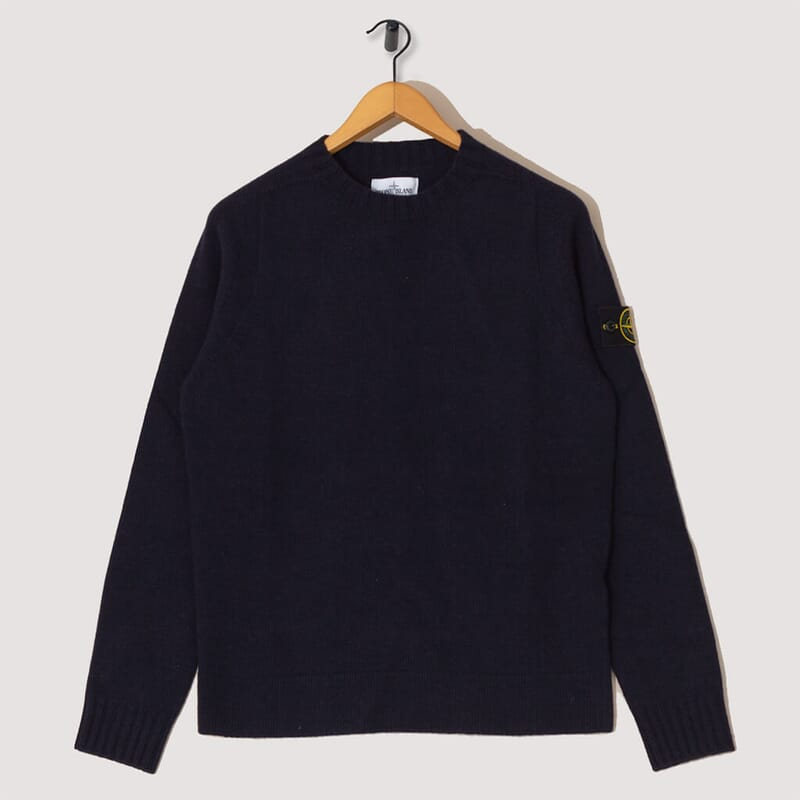Lambswool Crew Neck Knit  - Navy (505A3)