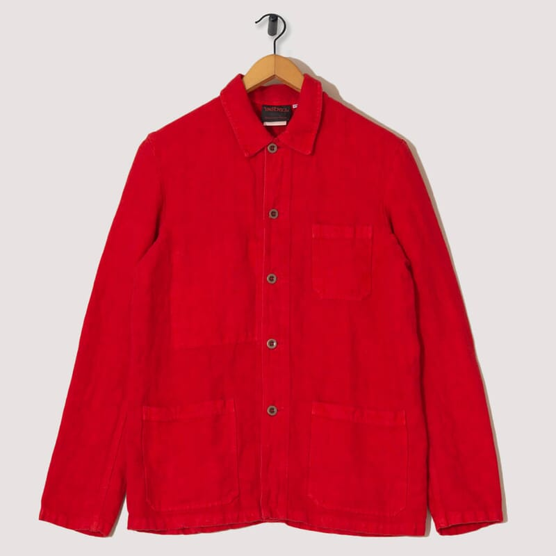 Linen Jacket - Poppy Red