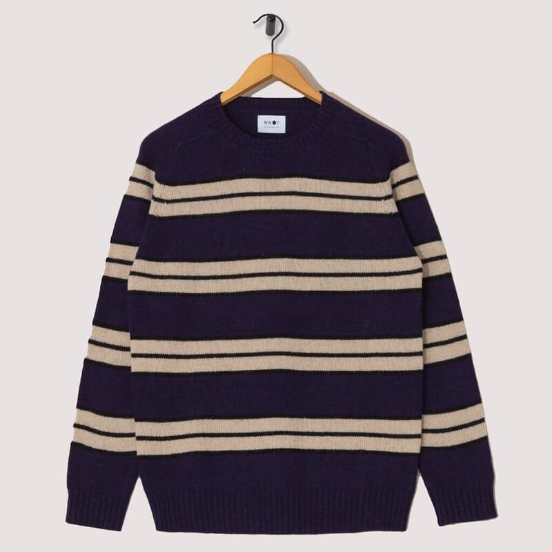 Nathan Stripe Knit - Navy