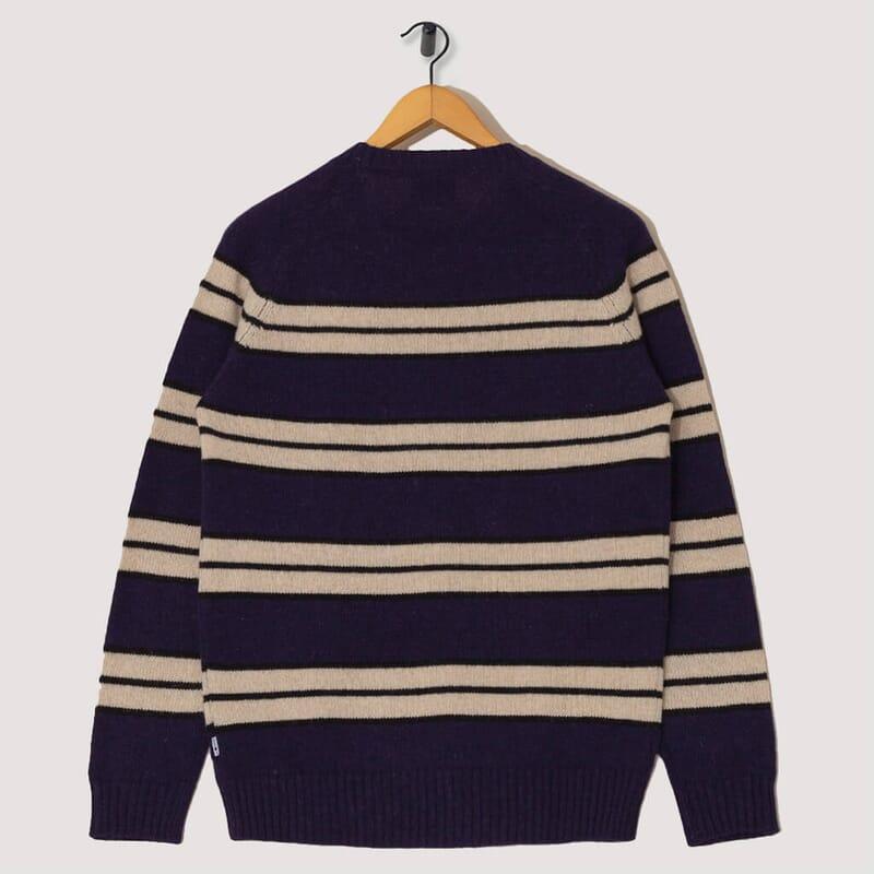 <Nathan Stripe Knit - Navy