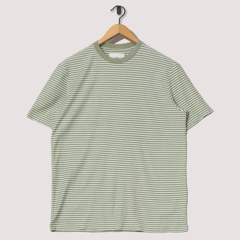 Pencil Stripe Tee - Off White / Olive