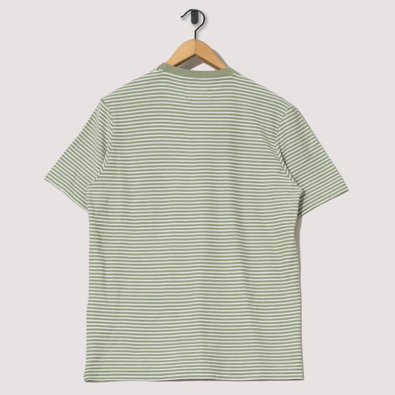 <Pencil Stripe Tee - Off White / Olive