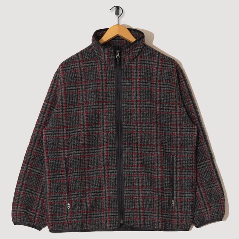 Piping Jacket Plaid Knit - Grey