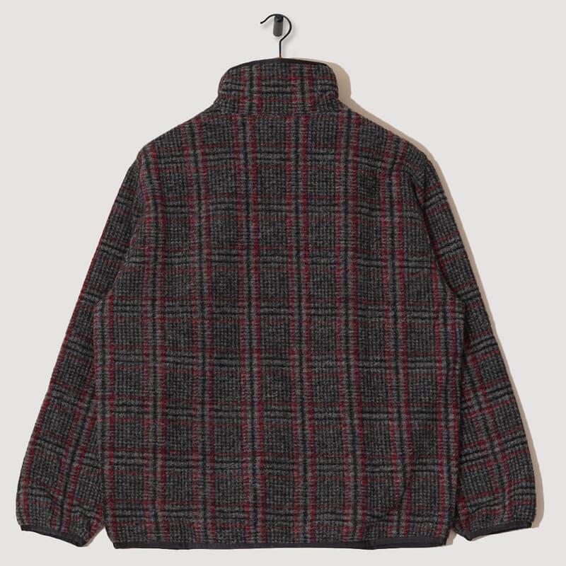 <Piping Jacket Plaid Knit - Grey