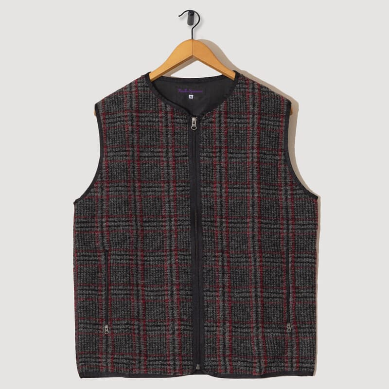 Piping Vest Plaid Knit - Grey