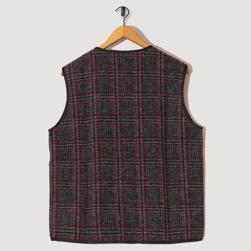 <Piping Vest Plaid Knit - Grey