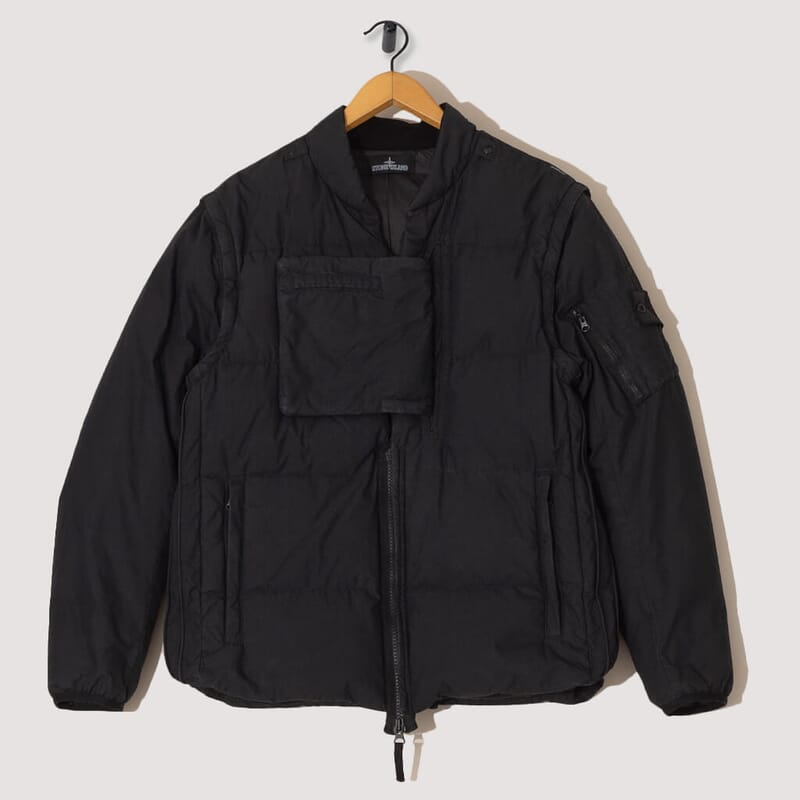 Real Down Blouson Cotton Nylon Poplin Jacket - Black