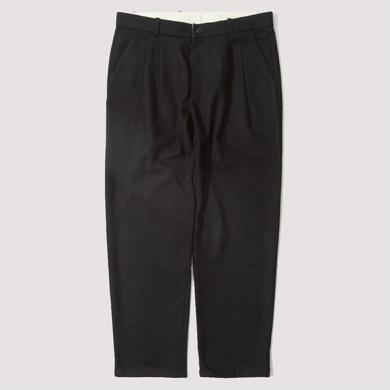 Service HB Wool Flannel Pleated Trousers - Navy