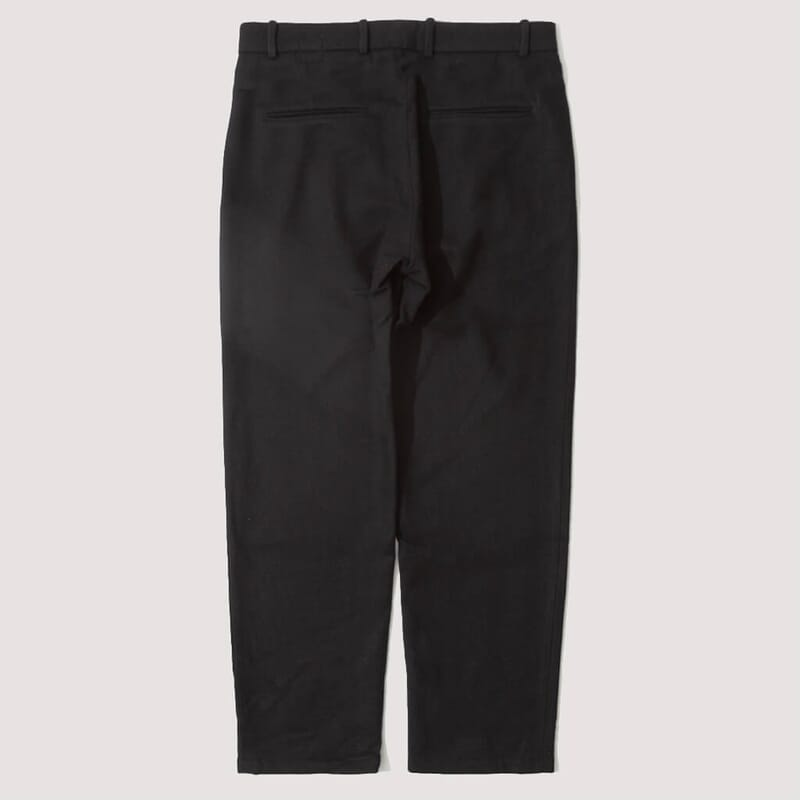 <Service HB Wool Flannel Pleated Trousers - Navy