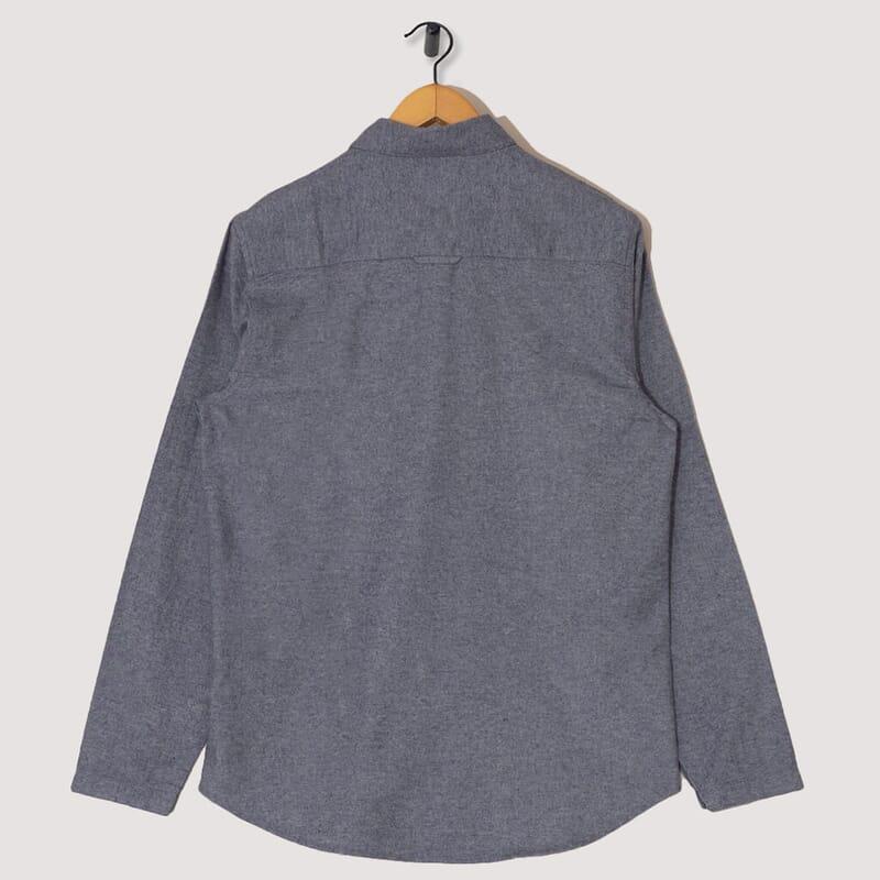 <Stitch Pocket Shirt - Brushed Blue Melange
