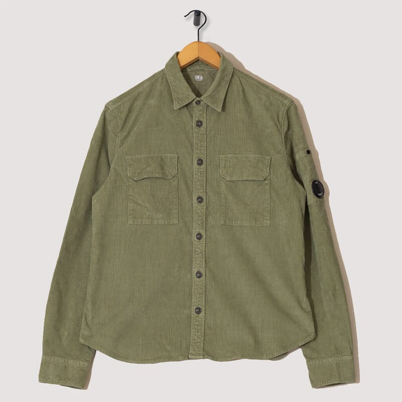 Stretch Corduroy Overshirt - Light Olive