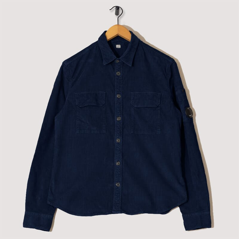 Stretch Corduroy Overshirt - Navy