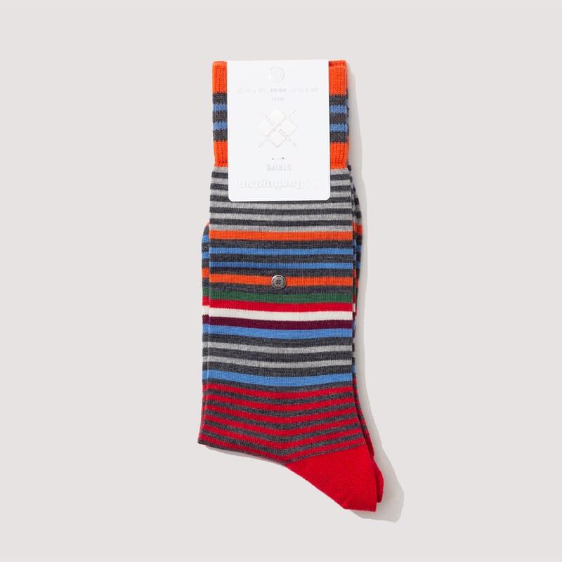 Stripe Socks - Orange/Charcoal/Blue (826)