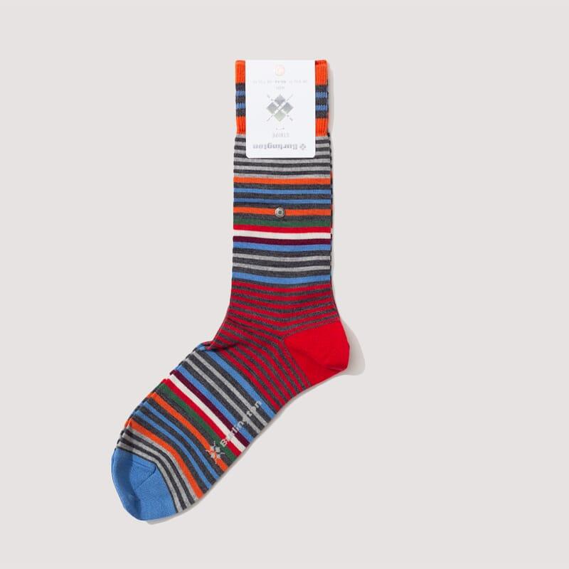 <Stripe Socks - Orange/Charcoal/Blue (826)