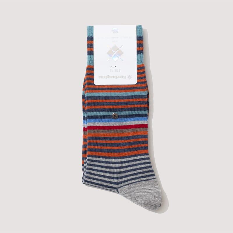 Stripe Socks - Teal/Orange/Sky Blue (827)