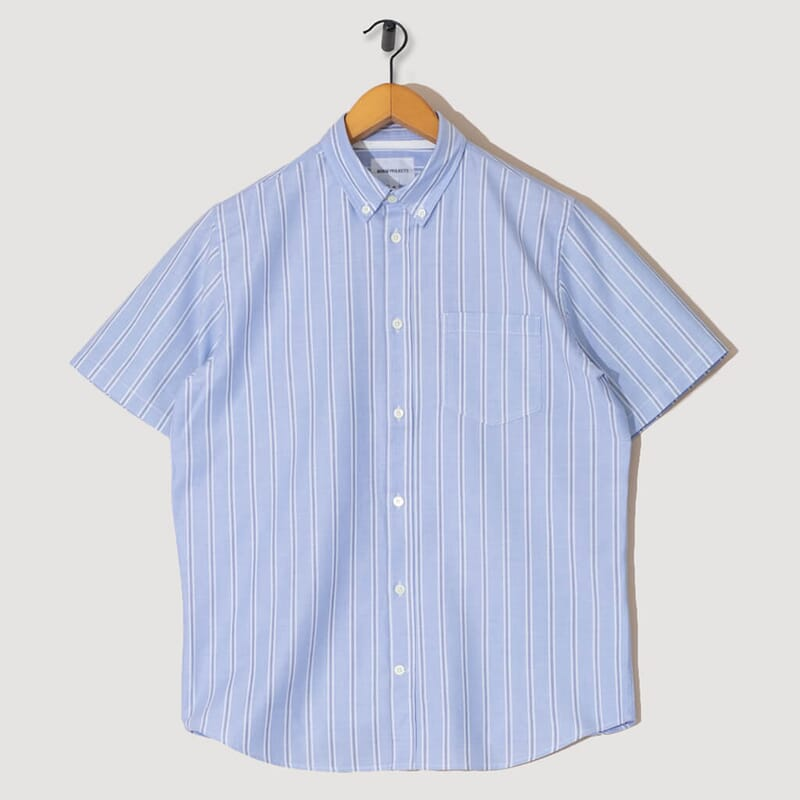 Theo Oxford S/S - Pale Blue / Multi Stripe