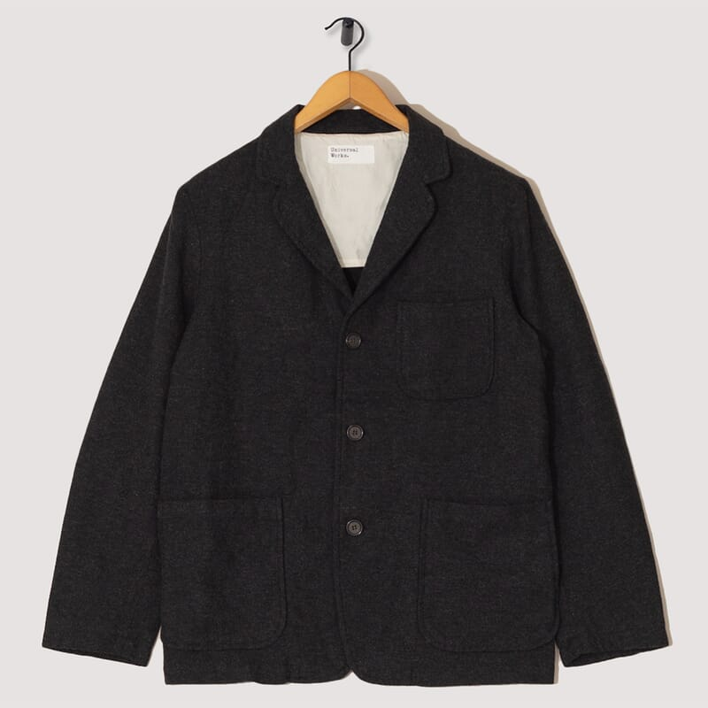 Three Button Jacket Wool Marl - Charcoal