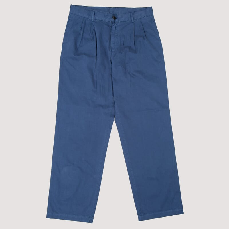 Wide Leg Pleated Chino - Navy