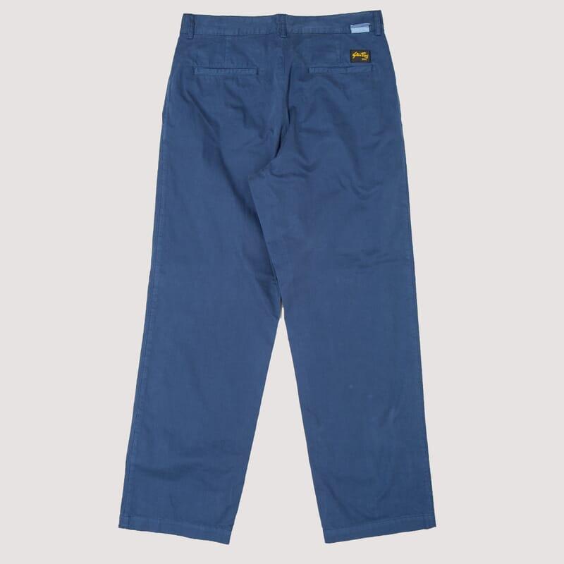 <Wide Leg Pleated Chino - Navy